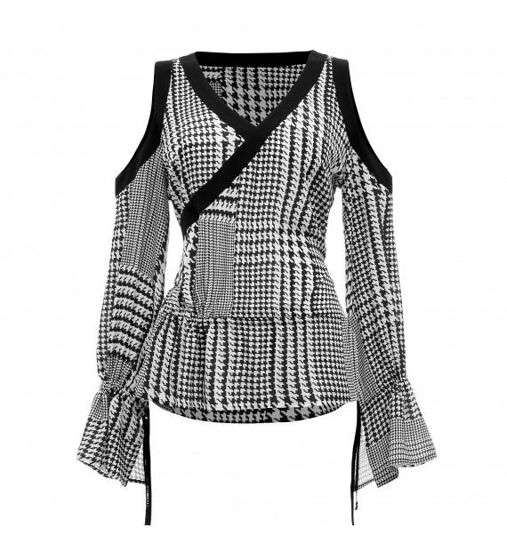 Bluzka czarno- biała z odkrytymi ramionami