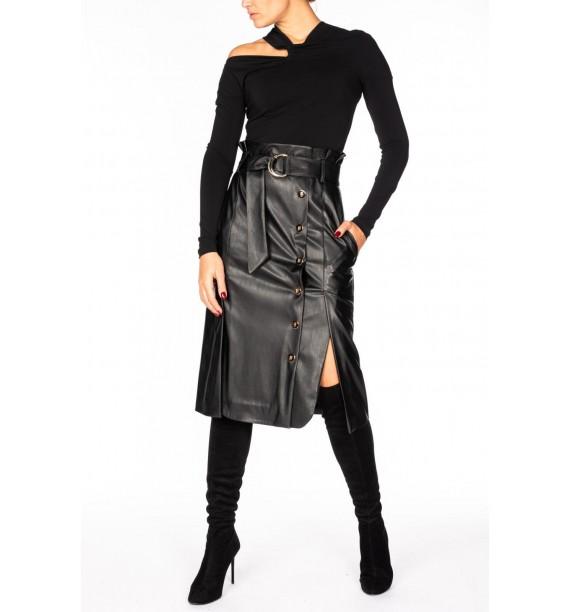 Bluzka czarna asymetryczna z węzełkiem