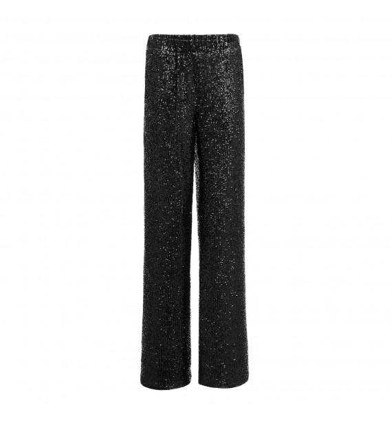 Spodnie szerokie błyszczące czarne