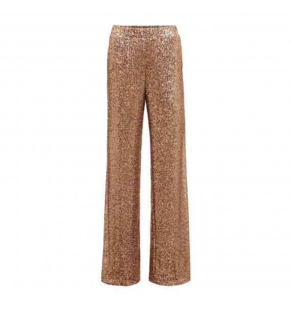 Spodnie szerokie błyszczące różowe złoto