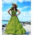 Sukienka żółta panterka maxi