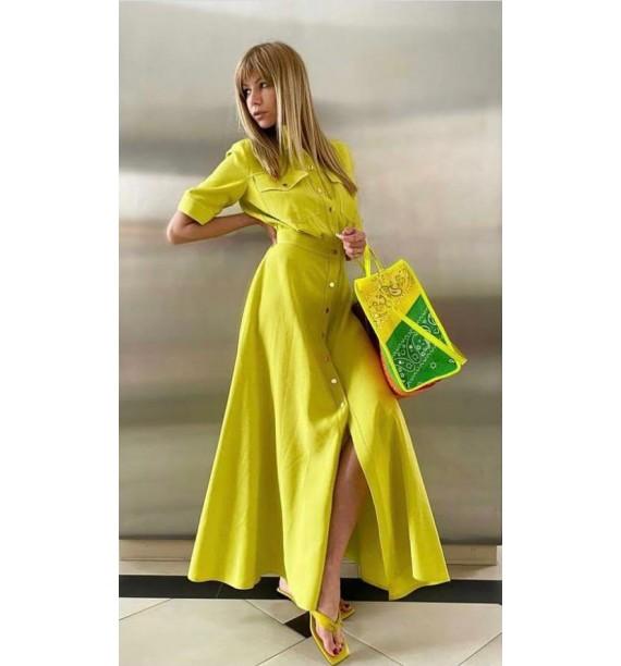 Sukienka maxi limonka