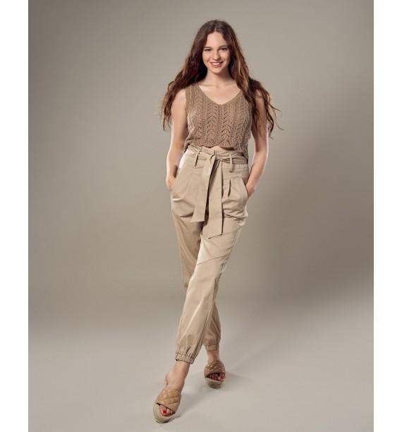 Spodnie damskie beżowe z szarfą