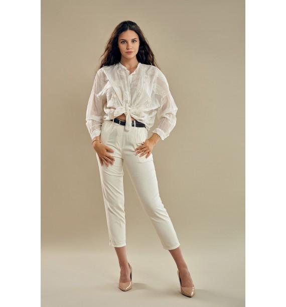 Spodnie damskie cienkie z paskiem