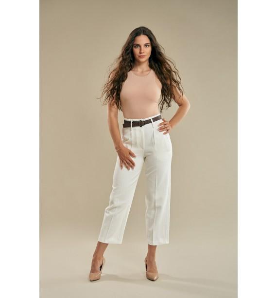 Spodnie damskie materiałowe z paskiem