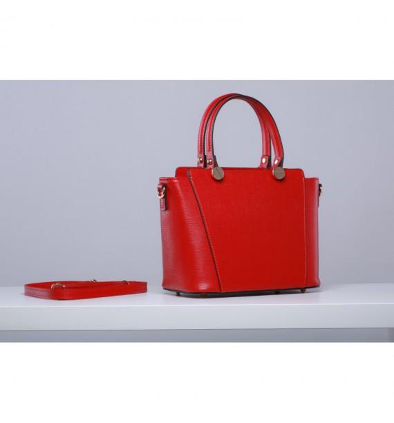Torebka damska kuferkowa ze skóry czerwona włoska
