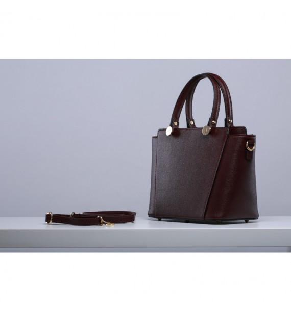 Włoska torebka kuferkowa ze skóry bordowa